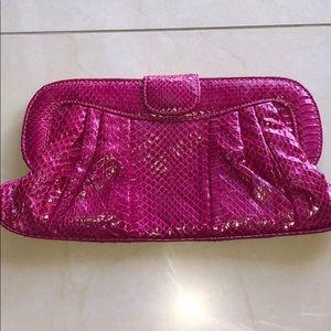 Saks Fifth Avenue Faux Croc Pink Clutch